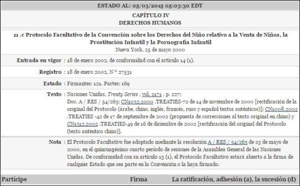 Protocolo Facultativo de la Convención sobre los Derechos del Niño relativo a la Venta de Niños, la Prostitución Infantil y la Pornografía Infantil