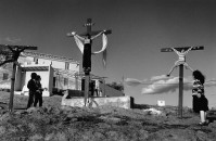 SPAIN. Riogordo. 1983. Playing the passion.