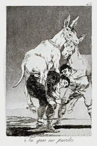 """''Tu que no puedes'', grabado de la serie """"Los Caprichos"""" de Goya"""